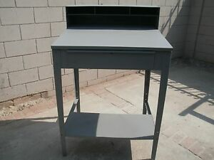 Vintage Shipping Receiving Metal Table Desk With Drawer And Shelf Heavy Duty