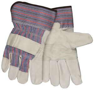 12 Pairs Mcr Safety Patch Palm Leather Work Gloves Large