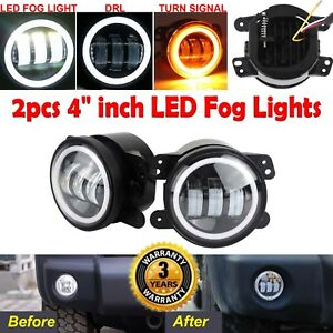 Cree4 Inch 35w Round Led Fog Driving Light For 07 15 Jeep Wrangler Jk Tj Yj Cj