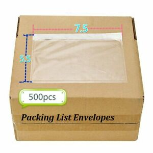 500 Clear Packing List Invoice Shipping Labels Envelopes Pouches Self Adhesive