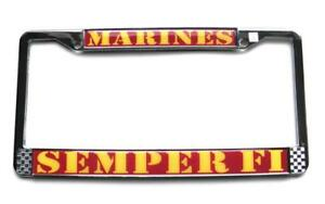 Marines Semper Fi Chrome Auto License Plate Metal Tag Frame Made In Usa