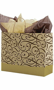 Paper Shopping Bags 100 Brown Gold Swirl Gift Merchandise 16 X 6 X 12 High