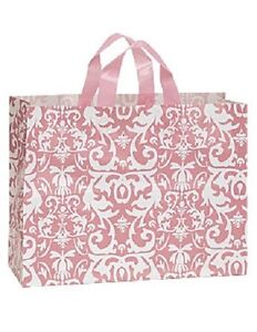 Plastic Bags Shopping 25 Pink Damask Frosty Merchandise Gift 16 X 6 X 12 Frosted