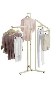 Clothing Rack 3 Way Clothes Ivory Garment Retail Floor Display Adjustable 72