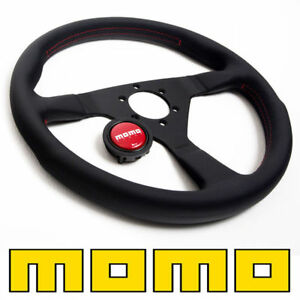 Momo Steering Wheel Monte Carlo Black Leather 350mm New Red Stitch Classic