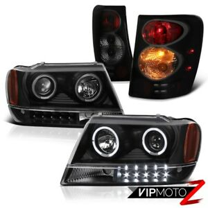 For 99 04 Jeep Grand Cherokee Sinister Black Brake Tail Lamp Projector Headlight
