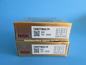 Nsk 7206ctynsulp4 Abec 7 Super Precision Spindle Bearings Matched Set Of Two