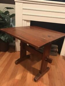 Vintage Mission Style Drop Leaf Wood Side Table Distressed