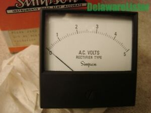 vintage Simpson Panel Meter Model 2143 Alternating Current 0 5 Ac V 17542 Mib