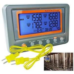 Thermocouple Thermometer K type 4 Channel Logger 328 2498 f c Beep Led Alarm