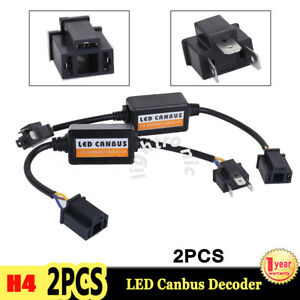 2x H4 Led Headlight Canbus Error Free Anti Flicker Resistor Canceller Decoder