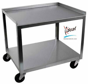 Ideal Stainless Steel 2 shelf Mobile Hot Pack Tank Cart
