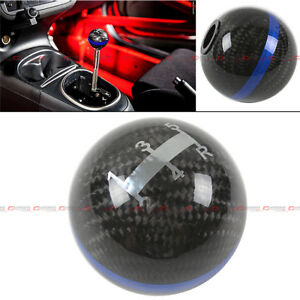 M12x1 25 Round Carbon Fiber 5 Speed Shift Knob Blue Strip For Ford Focus Mustang