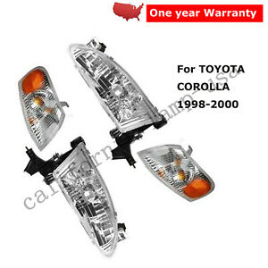 4pcs Set Head Corner Light Lamp Left Right For Toyota Corolla 1998 2000