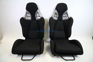 Porsche 997 Style Gt3 Seats In Black Cloth W Black Frp Reclining Euro Pair