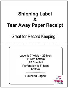 250 Sheets Click Ship Integrated Labels With Tear Off Receipt Designed For X 11