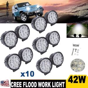 10x 42w Cree Led Work Light Flood Beam Driving Fog Off road Truck Boat 4wd Suv