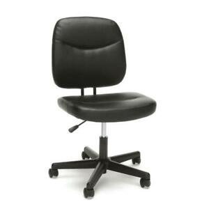 Armless Leather Desk Chair