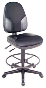 Black High Back Drafting Height Monarch Chair With Leather Accents