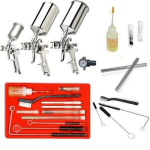 4pc Professional Hvlp Paint Gun Set Plus 23pc Spray Cleaning Kit Gravity New