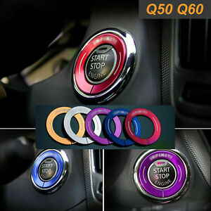 Red Alloy Ignition Start Stop Button Cover Ring For Infiniti Q50 Qx50 Q60 Qx60