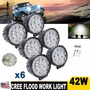 6x 42w Flood Round Led Work Light Driving fog 4wd Ute Boat Suv Offroad Boat Jeep