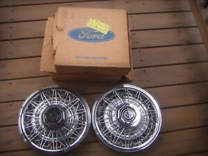 1980 1981 1982 Mercury Cougar 14 Wire Spoke Hubcaps 2 Oem New Old Stock