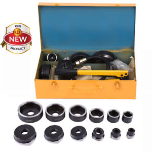 15ton 10die Hydraulic Knockout Punch Electrical Conduit Hole Cutter Set Tool Kit