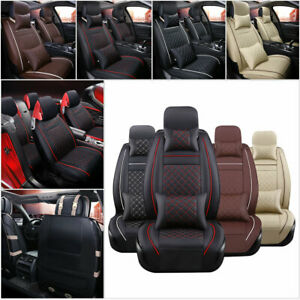 Us Pu Leather Car Seat Cover 5 seats Full Set Cover Front rear Cushion 4 Seasons