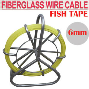 Fish Tape Fiberglass Wire Cable Running Rod Duct Rodder Fishtape Puller 6mm