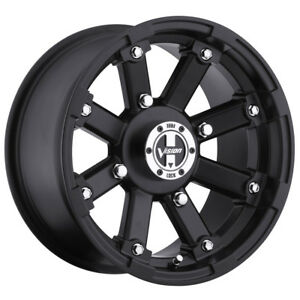 14 Inch 14x7 Vision 393 Lockout Matte Black Wheel Rim 4x115 3