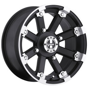 14 Inch 14x7 Vision 393 Lockout Black Machined Wheel Rim 4x115 3