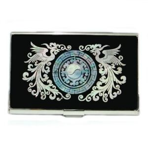 Mother Of Pearl Mop Phoenix Design Name Mens Business Credit Id Card Holder Case