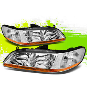 For 98 02 Accord Factory Style Headlights Headlamps Chrome Housing Amber Corner