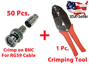 50x Crimp On Bnc Male Video Connector And Crimping Tool Rg59 58 62 6 21 140