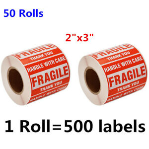 50 Rolls 2 X 3 Fragile Stickers Handle With Care Shipping Labels Red Us Stock
