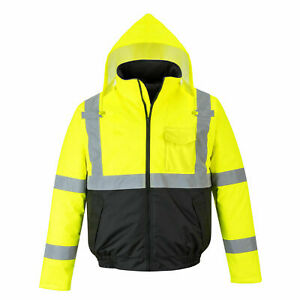 Hi vis Waterproof Yellow Bomber Jacket Quilt Lined Ansi Class Portwest Us363