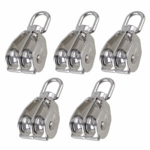 M15 m20 m25 m32 m50 Stainless Steel Double Sheave Wire Rope Pulley Block 5 Packs