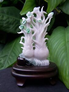 Imperial Green White Chinese Jadeite Carved Flower Statue Figurine W Wood Stand