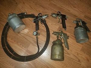 Lot Binks 62 Marson Speedy 331 a Paint Spray Guns W Canisters Hose Pneumatic