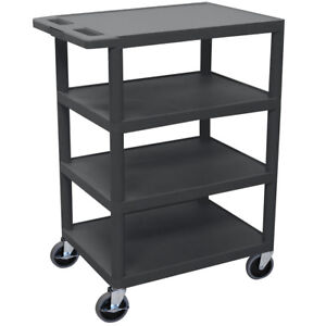 Luxor Bc45 b 36 inch Black Durable Four Flat Shelf Rolling Storage Utility Cart