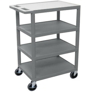 Luxor Bc45 g 36 inch Gray Durable Four Flat Shelf Rolling Storage Utility Cart