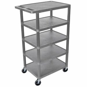 Luxor Bc50 g 46 inch Gray Durable Five Flat Shelf Rolling Storage Utility Cart
