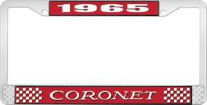 1965 Coronet License Plate Frame Red And Chrome With White Lettering