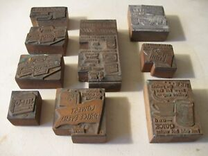 9 Vintage Wood Letterpress Printing Blocks Advertisement Cola Jello