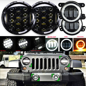 7 Led Headlight 4inch Fog Light Turn Signal Lamp 4pcs For Jeep Wrangler Jk