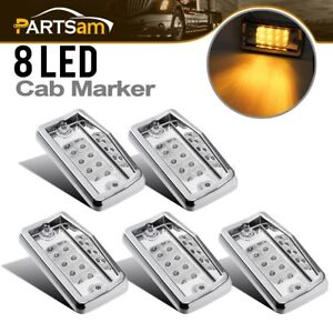 5x Clear amber Chrome 8led Roof Running Clearance Marker Light For Freightliner