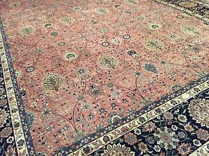 Fine 100 Pure Wool Handmade Persian Large Rug Size 12 Ft By 18 Ft Lightcoral