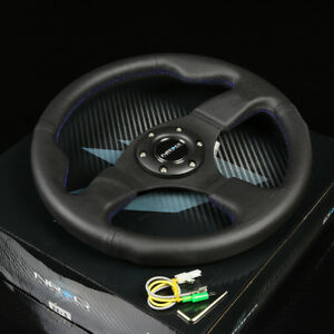 Nrg 320mm 6 Holes Bolts Racing Style Steering Wheel Black Leather Blue Stitches