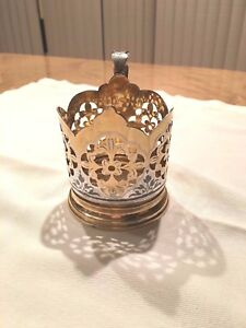 Vintage 875 Russian Silver Filigree Handmade 1 Podstakannik Tea Cup Holder